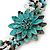 Handmade Teal Leather Flower Turquoise Bead Cotton Cord Bracelet - 14cm L/ 2cm Ext - for smaller wrists - view 2