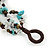 Handmade Teal Leather Flower Turquoise Bead Cotton Cord Bracelet - 14cm L/ 2cm Ext - for smaller wrists - view 6
