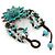 Handmade Teal Leather Flower Turquoise Bead Cotton Cord Bracelet - 14cm L/ 2cm Ext - for smaller wrists - view 4