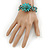 Handmade Teal Leather Flower Turquoise Bead Cotton Cord Bracelet - 14cm L/ 2cm Ext - for smaller wrists - view 3