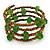 Multistrand Bronze/ Green Glass Bead Flex Bracelet - Adjustable
