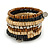 Wide Brown Wooden Bead Coil Flex Bracelet - Adjustable - view 4