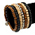 Wide Brown Wooden Bead Coil Flex Bracelet - Adjustable - view 2