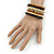 Wide Brown Wooden Bead Coil Flex Bracelet - Adjustable - view 3