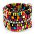 Wide Multicoloured Wooden Bead Coil Flex Bracelet - Adjustable - view 5