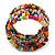 Wide Multicoloured Wooden Bead Coil Flex Bracelet - Adjustable - view 7