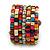 Wide Multicoloured Wooden Bead Coil Flex Bracelet - Adjustable - view 6