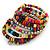 Wide Multicoloured Wooden Bead Coil Flex Bracelet - Adjustable - view 4