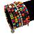 Wide Multicoloured Wooden Bead Coil Flex Bracelet - Adjustable - view 2