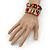 Wide Multicoloured Wooden Bead Coil Flex Bracelet - Adjustable - view 3