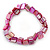 Magenta Shell Nugget Stretch Bracelet - 17cm L