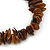 Brown Shell Nugget Stretch Bracelet - up to 19cm - view 2