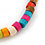 Unisex Multicoloured Wood Bead Flex Bracelet - up to 21cm L - view 3