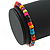 Unisex Multicoloured Wood Bead Flex Bracelet - up to 21cm L - view 4
