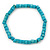 Unisex Teal Wood Bead Flex Bracelet - up to 21cm L