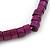 Unisex Purple/ Violet Wood Bead Flex Bracelet - up to 21cm L - view 3