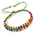 Multicoloured Wood Bead Friendship Bracelet With Light Green Cord - Adjustable - view 4