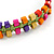 Multicoloured Wood Bead Friendship Bracelet With Light Green Cord - Adjustable - view 3