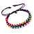 Multicoloured Wood Bead Friendship Bracelet With Purple Cord - Adjustable - view 3