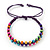 Multicoloured Wood Bead Friendship Bracelet With Purple Cord - Adjustable - view 6