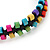 Multicoloured Wood Bead Friendship Bracelet With Black Cord - Adjustable - view 4