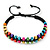 Multicoloured Wood Bead Friendship Bracelet With Black Cord - Adjustable - view 5