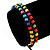 Multicoloured Wood Bead Friendship Bracelet With Black Cord - Adjustable - view 3