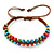 Multicoloured Wood Bead Friendship Bracelet With Brown Cord - Adjustable - view 3