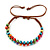 Multicoloured Wood Bead Friendship Bracelet With Brown Cord - Adjustable - view 6