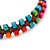 Multicoloured Wood Bead Friendship Bracelet With Brown Cord - Adjustable - view 4