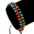 Multicoloured Wood Bead Friendship Bracelet With Brown Cord - Adjustable - view 5
