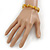Dusty Yellow Semiprecious Nugget Stone Beads Flex Bracelet - 18cm L - view 4