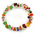 Multicoloured Semiprecious Nugget Stone Beads Flex Bracelet - 18cm L