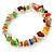 Multicoloured Semiprecious Nugget Stone Beads Flex Bracelet - 18cm L - view 5