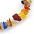 Multicoloured Semiprecious Nugget Stone Beads Flex Bracelet - 18cm L - view 3