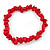 Rose Red Semiprecious Nugget Stone Beads Flex Bracelet - 18cm L