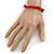 Rose Red Semiprecious Nugget Stone Beads Flex Bracelet - 18cm L - view 2