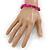 Deep Pink Semiprecious Nugget Stone Beads Flex Bracelet - 18cm L - view 3