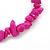 Deep Pink Semiprecious Nugget Stone Beads Flex Bracelet - 18cm L - view 2