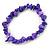 Violet Purple Semiprecious Nugget Stone Beads Flex Bracelet - 18cm L