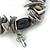 Black/ Grey Shell Nugget, Ceramic Bead, Burnt Silver Metal Charm Flex Bracelet - 18cm L - view 2