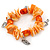 Orange/ Peach Shell Nugget, Ceramic Bead, Burnt Silver Metal Charm Flex Bracelet - 18cm L - view 5