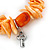Orange/ Peach Shell Nugget, Ceramic Bead, Burnt Silver Metal Charm Flex Bracelet - 18cm L - view 3