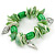 Spring Green Shell Nugget, Ceramic Bead, Burnt Silver Metal Charm Flex Bracelet - 18cm L - view 5
