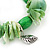 Spring Green Shell Nugget, Ceramic Bead, Burnt Silver Metal Charm Flex Bracelet - 18cm L - view 3