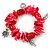 Red/ Magenta Shell Nugget, Ceramic Bead, Burnt Silver Metal Charm Flex Bracelet - 18cm L