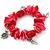 Red/ Magenta Shell Nugget, Ceramic Bead, Burnt Silver Metal Charm Flex Bracelet - 18cm L - view 5