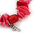 Red/ Magenta Shell Nugget, Ceramic Bead, Burnt Silver Metal Charm Flex Bracelet - 18cm L - view 3