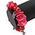 Red/ Magenta Shell Nugget, Ceramic Bead, Burnt Silver Metal Charm Flex Bracelet - 18cm L - view 4