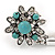 Vintage Inspired Round Turquoise Flower Flex Bracelet With Ring Attached - 20cm Length, Ring Size 7/8 - view 6